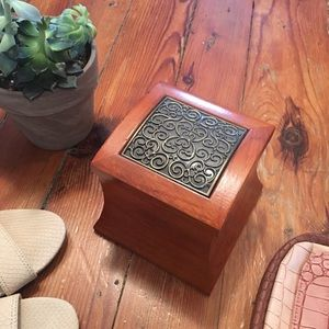 Other - Gorgeous Wooden Jewelry Box with Iron Design